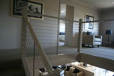 Another view of white balustrade & wire