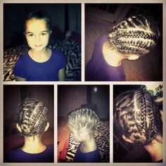 My sister braided my little sister Liz's hair:) Step 1: split hair on half and French braid  Step 2 : split the other half on three sections Step 3: make 3 corn rows  Step 4 : braid them and twist into bun :)