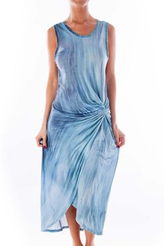 884e160253 Look glamorous on a tropical getaway blue tie dye maxi dress by Tahari   silkroll Blue