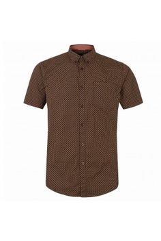 3928b96788 Merc London Jefferson Chocolate brown short sleeved micro print shirt