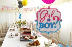All sorts of things hanging from the roof of this baby shower marquee Marquee Hire, Hanging Decorations, Christening, Birthday Cake, Baby Shower, Babyshower, Birthday Cakes, Baby Showers, Birthday Cookies