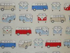 CAMPERVAN BLUE A VW DESIGN CURTAIN FABRIC ~ PER METRE | eBay