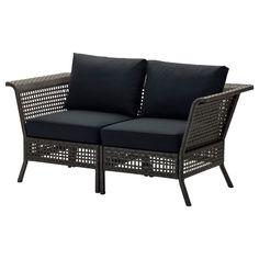 KUNGSHOLMEN Loveseat, outdoor - black-brown/Kungsö black - IKEA
