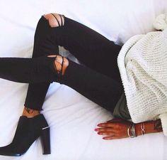 #Overlarge|Black denim|ankle boots