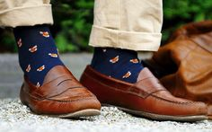 Corgi for the Royal Male, Navy fox socks and Rancourt, brown leather penny loafers