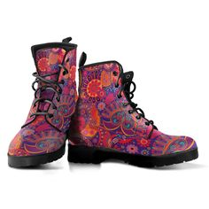 Bloom And Be Flowerful Boots - Men & Women Unique Boots, Combat Boots, Women's Boots, Punk Boots, Ankle Boots, Snug Fit, Vegan Leather, Leather Boots, Rubber Rain Boots