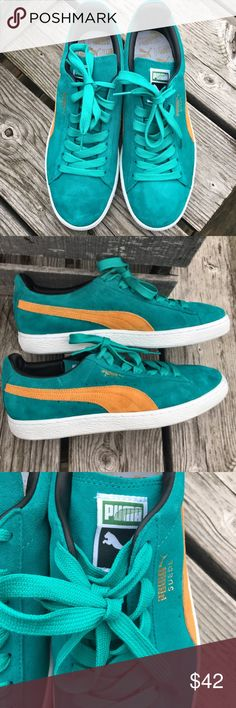 hot sales 7f3f5 a7108 Kelly green suede with yellow gold stripe! Size mens 9 or womens EUR Puma  Shoes Sneakers - Find deals and best selling products for PUMA Shoes for  Women