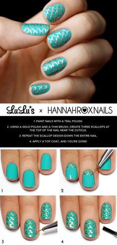 Mermaid Nail Art Tutorial - Head over to Pampadour.com for more fun and cute nail art designs!