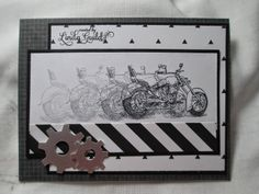 Nothin' Fancy-over stamping technique, Stampin Up motorcycle stamp, black and white card (Pin Transportation: Motorcycles. Masculine Birthday Cards, Birthday Cards For Men, Man Birthday, Masculine Cards, Boy Cards, Cute Cards, Men's Cards, Scrapbooking, Scrapbook Cards