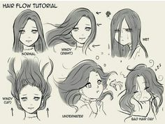 Hair flow drawing techniques, drawing tips, drawing reference, water drawing, drawing expressions Drawing Poses, Drawing Tips, Drawing Sketches, Art Drawings, Drawing Ideas, Drawing Drawing, Drawing Hair Tutorial, Manga Tutorial, Animae Drawings