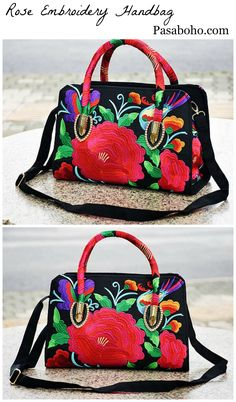 $42 - An Embroidery Handbag with Beautiful Embroidery. Check it out on our website. This Bag exhibits brilliant colours with bold embroidered rose and floral.
