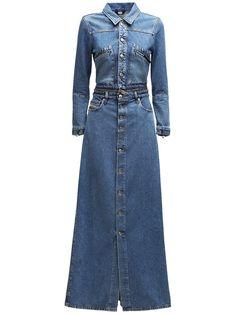 DIESEL De-blochy Convertible Denim Maxi Dress Maxi Skirt Outfits, Denim Maxi Dress, Diesel Coats, Women's Straight Jeans, Diesel Denim, Denim Coat, Denim Fashion, A Line Skirts, Blue Denim