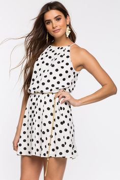 Women's Fit & Flare Dresses | Dolly Dot Halter Pleat A-Line Dress | A'GACI