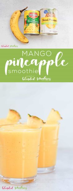 This Mango Pineapple Smoothie is a delicious healthy tropical smoothie you can make at home Mango Smoothie Healthy, Strawberry Mango Smoothie, Pineapple Smoothie Recipes, Healthy Side Recipes, Healthy Dessert Recipes, Lunch Recipes, Dinner Recipes, Dairy Free Alternatives, Tropical