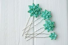Capelli blu succulenti Pins tornante Polymer Clay Bobby Pins capelli decorazione…