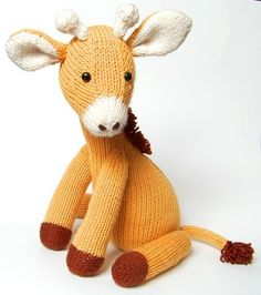 "NEW PDF - Knitting Pattern for Jasmine the Giraffe - Instant Download 12"" tall"