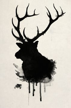Elk...this pattern would be good as a sillouette pattern for the 4-H kids. They could modify to leave out the drips of ink.
