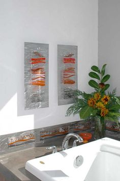 Contemporary Glass Wall Art, Fused Glass & Metal Wall Art, by Kim Merriman Art
