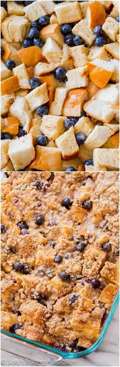 Unbelievable Blueberry French Toast Casserole! This is the perfect crowd-pleasing make ahead recipe for busy mornings. #breakfast #brunch #frenchtoast