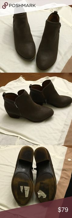 NWOT Brown Lucky Booties NWOT Brown Leather Lucky Booties with zipper detail. Zips on both inside and outside of ankle. Bought then found a pair another pair I like better. Partial sticker still on bottoms. Lucky Brand Shoes Ankle Boots & Booties