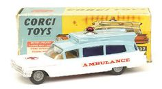 Mettoy Corgi diecast No.437 Cadillac Superior Ambulance cream & red 1962-65<BR>Cadillac Superior Ambulance blue & white 1965-68<BR>Cadillac Superior Ambulance red & silver 1965-68
