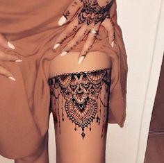 Oberschenkel Tattoo Frauen - - tattoo tattoo tattoo calf tattoo ideas tattoo men calves tattoo thigh leg tattoo for men on leg leg tattoo Henna Tattoo Designs, Henna Tattoo Hand, Tattoo Ideas, Henna Neck, Henna Tattoos, Mehndi Designs, Lace Tattoo Design, Design Tattoos, Lion Tattoo