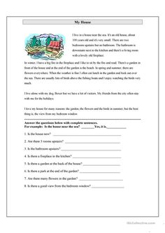My House worksheet - Free ESL printable worksheets made by teachers First Grade Reading Comprehension, 1st Grade Writing, Reading Comprehension Worksheets, Reading Strategies, English Grammar For Kids, English Worksheets For Kids, English Reading, Teaching English, English Lessons