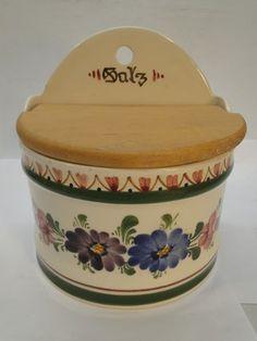 Vintage Pottery Salt Box Wall Mount Salz Crock w Lid Hand Painted Floral Austria | eBay