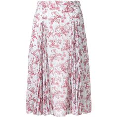 Prada pleated floral print skirt ($1,560) ❤ liked on Polyvore featuring skirts, white skirt, knee length pleated skirt, floral pleated skirt, flower print skirt and knee high skirts