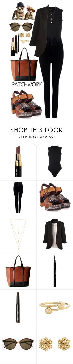 """""""black brown gold"""" by cordelia-fortuna ❤ liked on Polyvore featuring Bobbi Brown Cosmetics, adidas Originals, Citizens of Humanity, See by Chloé, Natalie B, WithChic, Givenchy, J.W. Anderson, Yves Saint Laurent and patchwork"""