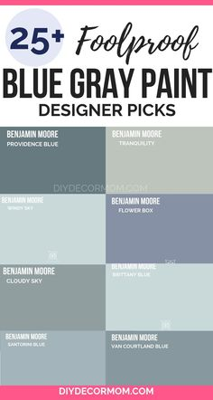 The best blue gray paint colors from designers! See the top paint picks from Ben. - The best blue gray paint colors from designers! See the top paint picks from Benjamin Moore, Sherwi - Bluish Gray Paint, Blue Gray Paint Colors, Behr Paint Colors, Paint Color Schemes, Bedroom Paint Colors, Paint Colors For Living Room, Interior Paint Colors, Paint Colors For Home, House Colors