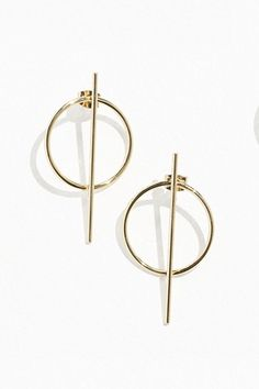 Corporate Fashion That Always Works | sheerluxe.com Sea Glass Jewelry, Copper Jewelry, Crystal Jewelry, Crystal Earrings, Silver Earrings, Thin Hoop Earrings, Triangle Earrings, Bar Earrings, Minimalist Earrings