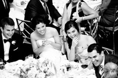 Bride and Groom Black and White Photo with their Guests #wedding #photography