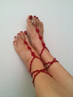 Red   Barefoot Sandals Nude shoes Foot jewelry by ArtofAccessory, $15.00