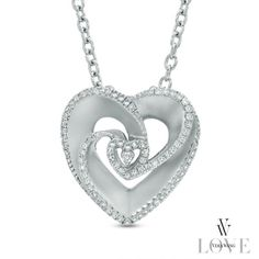 Vera Wang LOVE Collection 1/5 CT. T.W. Diamond Rose-Inspired Heart Pendant in Sterling Silver