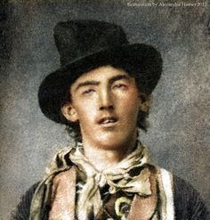 "Billy the Kid, American Outlaw, Portrait Restoration, ca.1880. Original pinner stated, ""There is only one known photograph of Billy the Kid. A tintype from about 1880, but it is badly damaged and that makes it difficult to see his face clearly. I have digitally removed the damage from the photograph, and as a professional facial analyst, I have reconstructed the missing parts of Billy's face."" Remarkable....."