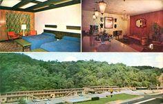 Green Acres Motel - Parkersburg, West Virginia -- The 60s leaning into the 70s, but that still does not excuse the orange chairs; no, wait, maybe that explains them. You can see the caddy of postcards in the lobby.