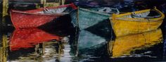 """yellow red n viridian dories 26"""" x 40"""" micheal zarowsky watercolour on arches paper / private collection"""