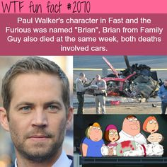 "Paul Walker's facts - WTF fun facts- Not to mention that same week one of the answers for a new episode of Wheel of Fortune was ""Fast and the Furious"""