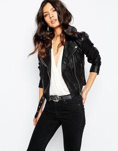 Image 1 ofMango Faux Fur Collar Leather Biker Jacket