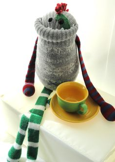 Smug Monster- plush upcycled from sweaters. $45.00, via Etsy.