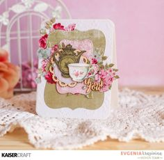 'Thank You' Card by Evgenia Krapivina Design Team member for Kaisercraft Official Blog Group Post using their 'High Tea' collection [April 2017] and Featuring Textured Stamp 'Floral Wallpaper' Learn more at kaisercraft.com.au/blog ~ Wendy Schultz ~ Cards 1.
