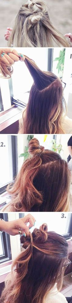 Half-Up Double Top Knot | Click Pic for 17 Easy Boho Hairstyles for Medium Hair | Cute Messy Hairstyles for Long Hair: