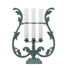 Iron Harp Vases Verdigris.  Interior Designs on line