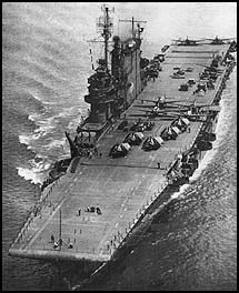 The USS Saratoga  Notice there are no angled flight decks. They drove them straight off of the deck.