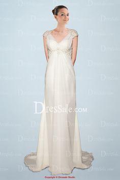 Elegant Chiffon Empire Wedding Dress Featuring Sheer Lace Cap Sleeves and V-neckline