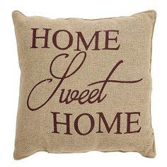 "Home Sweet Home Burlap Pillow 12x12"""
