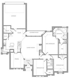 """Texas House Plans 2500 square foot air conditioning """"ranch style"""", plus 381 square"""