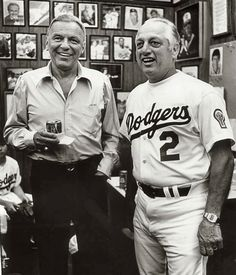 Tom Lasorda Los Angeles Dodgers Autographed 'with Frank Sinatra' Photo Inscribed Franck Sinatra, Dodgers Baseball, Dodgers Fan, Dodger Blue, Out Of Touch, Dean Martin, Sports Stars, Los Angeles Dodgers, Vintage Hollywood