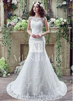 In Stock Elegant Tulle Bateau Neckline Mermaid Wedding Dresses With Beaded Lace Appliques
